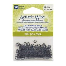 20 Gauge Artistic Wire, Chain Maille Rings, Round, Black, 1/8 in (3.18 m... - $2.99