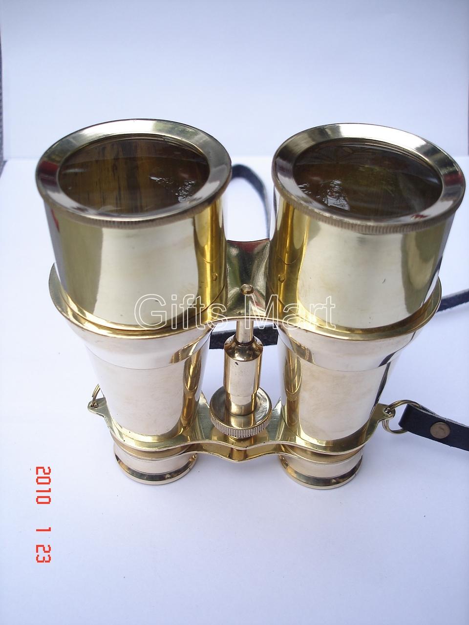 "Solid Brass Binoculars 6"" Nautical Survey, offce home decor display fancy gift i"