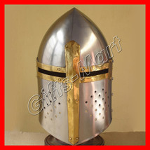 TEMPLAR SUGAR LOAF HELMET W/BRASS - Great Helm COSTUME, Medieval Armor H... - $53.50