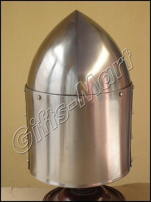 TEMPLAR SUGAR LOAF HELMET W/BRASS - Great Helm COSTUME, Medieval Armor Helmets