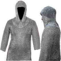 XL Size Chainmail Shirt With Coif, Xtra Large Medieval Chain Mail Armour... - $144.85