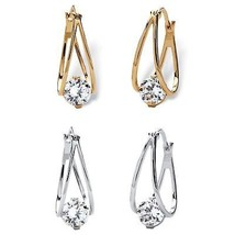 8 TCW CZ Hoop 2-Pair Earrings Set Silvertone & 14k Gold-Plated - $24.99