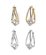 8 TCW CZ Hoop 2-Pair Earrings Set Silvertone & 14k Gold-Plated - $24.99