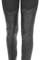 ELEGANT BLACK PANTS WITH  VEGAN SKIN AND LACE - $90.00