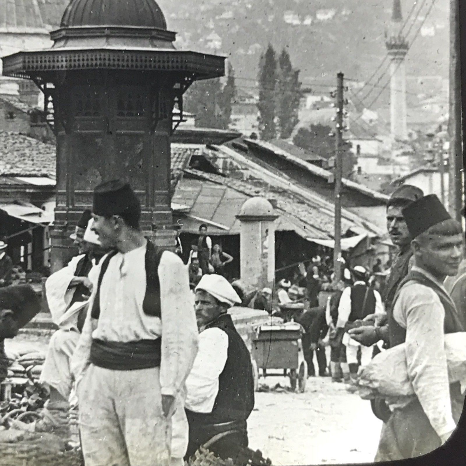Vtg Keystone Magic Lantern Slide Photo Sarajevo Bosnia Austria Hungary People