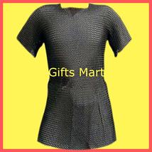 XXL Chainmail Shirt Black, Medieval Chain Mail Hauberk Armour, Reenactment Sca - $177.01