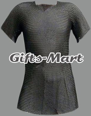 XXL Chainmail Shirt Black, Medieval Chain Mail Hauberk Armour, Reenactment Sca