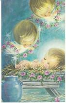 Vintage Christmas Card Angels Jesus Unused with Envelope Gibson Christmas Gems - $7.91