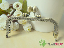 Antique Brass Embossed Purse Frame - Rectangle Tulip - 10.5cm / 4.1 inch... - $3.00