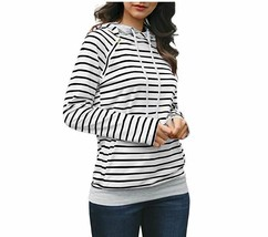 Gobought Womens Long Sleeve Striped Hoodies Cowl Neck Double Hooded Pull... - $13.51