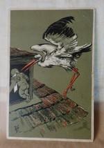 ANTIQUE 1901-06 Postcard STORK Baby by AE Paul Finkenrath Berlin Estonia Stamp - $30.00