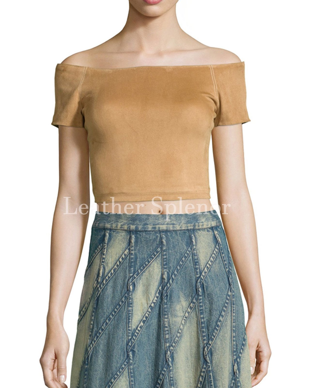 Off Shoulder Women Suede Cropped Leather Top