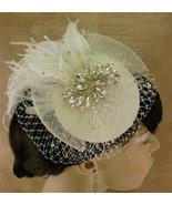 Full Birdcage Veil, Bridal Hat, Ivory, Feather Fascinator, Bridal Fascin... - $164.00
