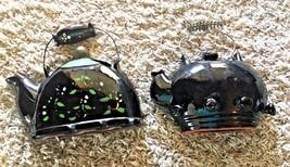 REDWARE BLACK TEAPOTS Vintage Set 2 Ceramic Tea Kettles Wall Pocket With... - $14.48