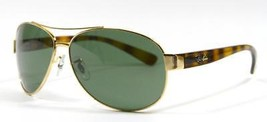 Ray Ban 3386 001 Gold Tortoise Sunglasses Green Lens 63mm New and Authentic - $108.85