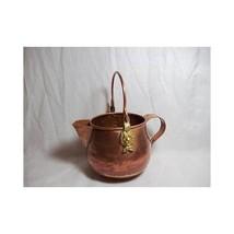 Vintage LIONS HEAD COPPER KETTLE Scuttle Pot tea Handled brass accent - $32.97