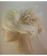 Wedding Bridal Fascinator, Bridal Fascinator, Feather Fascinator , Weddi... - $75.00