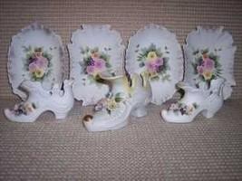 7 Lefton  Raised Flower Plates Shoes - $40.99