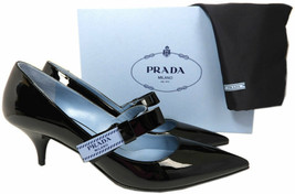 Taille 40 Prada Noeud Logo Cuir Noir Tennis Chaussures Bout Pointu Mary ... - $429.00