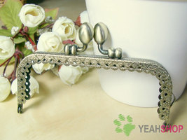 Antique Brass Embossed Purse Frame - Rectangle Lace-edge Tulip - 10.5cm ... - $3.00