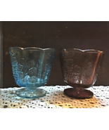 Two Vintage Indiana Glass Harvest Grape Pattern Panelled Compotes Candy ... - $16.00