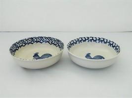 Folk Craft Tienshan  – 2 Cereal/Soup Bowls – Sponge Blue Rooster  - $10.50