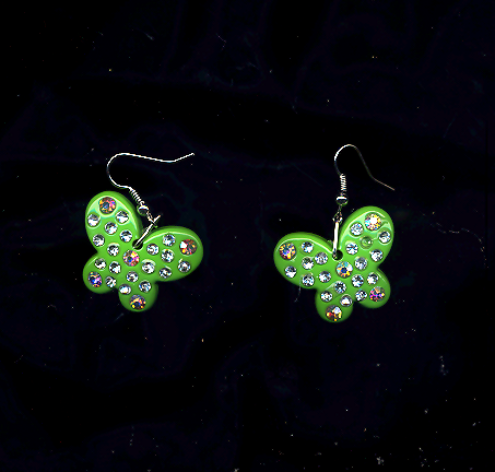 FREE WITH PURCHASE~ Green Acrylic Butterflies With Ab Crystals