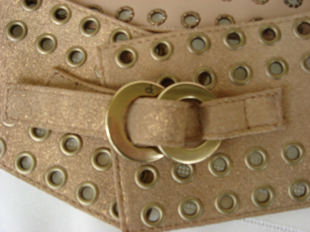 Calvin Klein Metallic Gold Leather Belt $170++ FREE SHIP