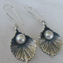 Silver pearl earrings B - $30.00