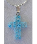 Beautiful light blue Morano cross - $23.00