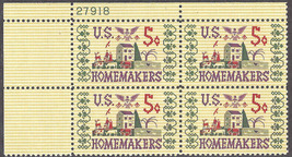 1964 Homemakers Plate Block of 4 US Postage Stamps Catalog Number 1253 MNH