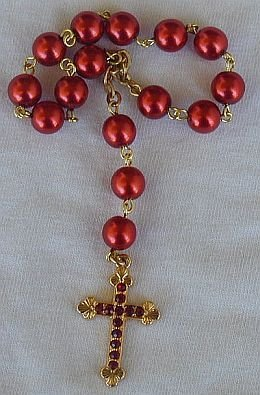 Beautiful mini red pearls rosary