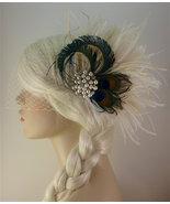 Wedding Hair Accessory ,Feather Fascinator, Bridal Accessory, Wedding Veil - $120.00