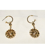 Goldish Sun Face Pierced Earrings 2 in 1 - $8.99