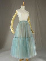 Green Yellow Tiered Midi Tulle Skirt Puffy Tulle Midi Skirt Outfit image 4