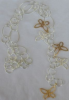 Gold and silver butterfly necklace