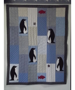 Handmade Penguin Star Appliqued Blue Quilted Throw Blanket Patchwork Emb... - $110.00