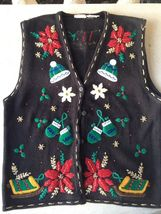 Bobbie Brooks Sweater Vest Christmas Holiday Womens Pointsettia Mittens ... - $21.99