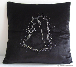 SALE. Wedding Edition. Lets Dance Black Velour Embellished Pillow Cover - £23.59 GBP