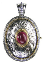 Gerochristo 3275 - Solid Gold & Silver Engraved Oval Locket Pendant - $910.00