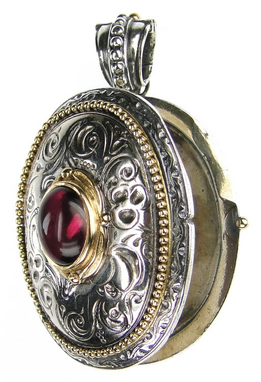 Gerochristo 3275 - Solid Gold & Silver Engraved Oval Locket Pendant image 2