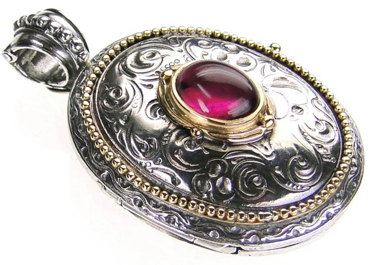 Gerochristo 3275 - Solid Gold & Silver Engraved Oval Locket Pendant image 3