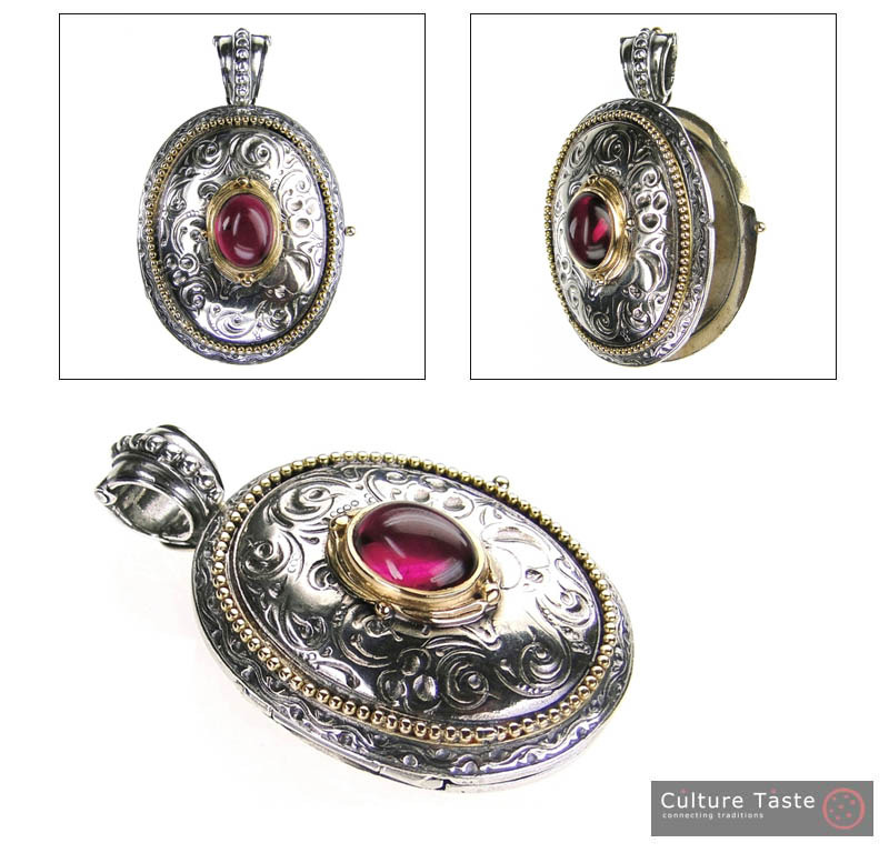 Gerochristo 3275 - Solid Gold & Silver Engraved Oval Locket Pendant image 4