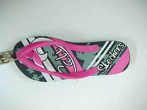 Sketchers Cali Pink/Grey/White Flip Flops Shoe Rubber Keychain