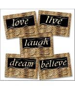 Cheetah Leopard Print Wall Art Decor Girls Room Believe Live Love Dream Laugh - $19.99