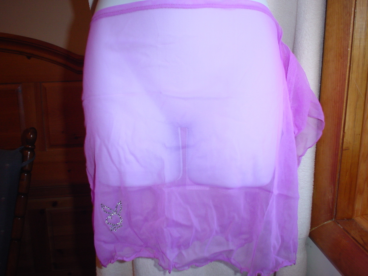 Playboy Sheer Swim Sarong Medium Light Purple  NWT