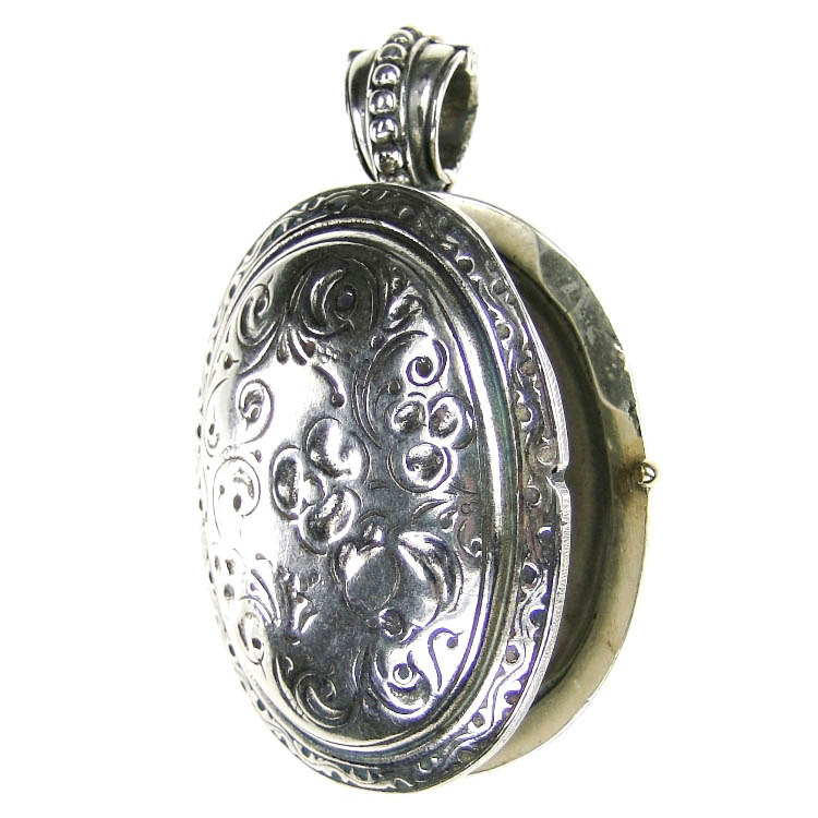 Gerochristo 3276 -  Sterling Silver Engraved Oval Locket Pendant image 2