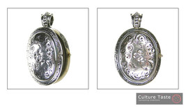 Gerochristo 3276 -  Sterling Silver Engraved Oval Locket Pendant image 3