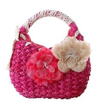 Fashion Vacation Item/Sweet Flower Straw Lace Hand Bag/ Beach Bag/ Rose Red