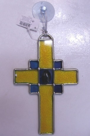 Primary image for New Stained Glass Religious Cross Mult Colors Easter